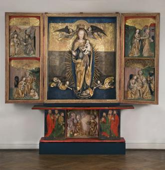 oltářní archa po restaurování - instalace v expozici starého umění - Muzeum v Teplicích