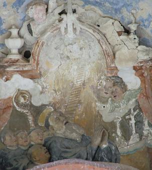 před restaurováním - reliéf Smrt sv. Benedikta