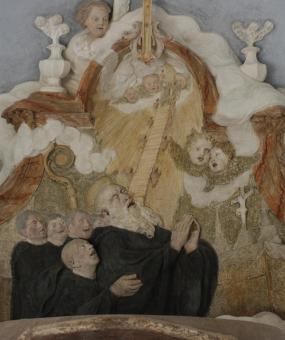 po restaurování - reliéf Smrt sv. Benedikta