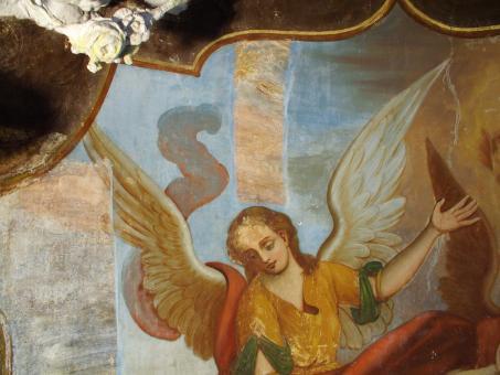 před restaurováním - oltář sv. Václava a sv. Vojtěcha