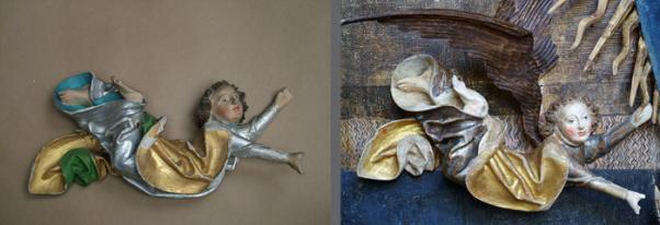 andělé - stav před restaurováním, stav po restaurování