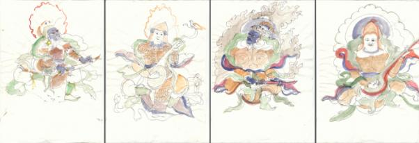 Ochránci čtyř světových stran - skici podle maleb v okolních klášterech