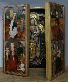 oltářní skříň - stav v průběhu restaurování