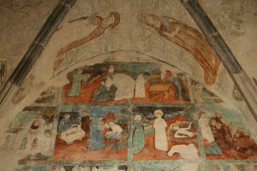 cyklus ze života sv. Benedikta na severní stěně sakristie