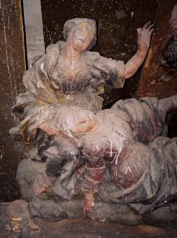 stav před restaurováním - Panna Marie s Máří Magdalénou